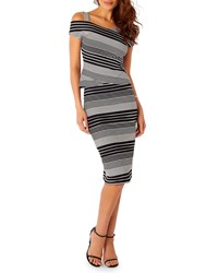 5Twelve Striped Midi Pencil Skirt Black White