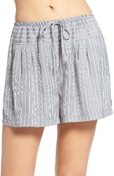 Dkny Women's Satin Boxer Shorts Opal Grey Stripe