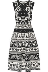 Alexander Mcqueen Stretch Jacquard Knit Dress Black
