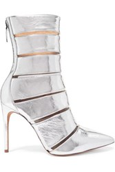 Alexandre Birman Sommer Metallic Leather And Perspex Ankle Boots Silver
