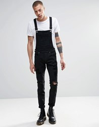 Dr. Denim Dr Denim Ira Skinny Ripped Dungaree Jeans In Black Black