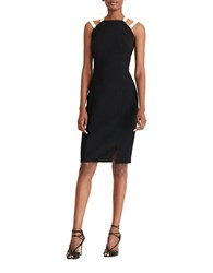 Lauren Ralph Lauren Petite Two Tone Sheath Dress Black Pearl