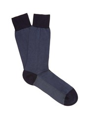 Pantherella Tewksbury Cotton Blend Socks Navy