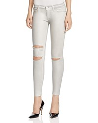 Hudson Krista Silver Wax Destructed Jeans In Metallic Platinum