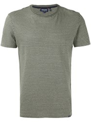 Woolrich Striped T Shirt Men Cotton Linen Flax M Green