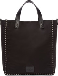 Valentino Black Studded Nylon Tote Bag