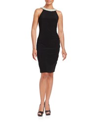 Adrianna Papell Embellished Halter Dress Black