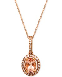 Macy's Morganite 7 8 Ct. T.W. And Diamond 1 5 Ct. T.W. Halo Pendant Necklace In 14K Rose Gold
