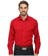 Roper L S Solid Basic Snap Front Red Men's Long Sleeve Button Up