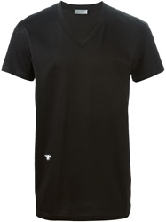 Christian Dior Dior Homme Fly Motif V Neck T Shirt Black
