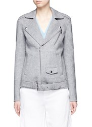 Theory 'Tralsmin Df' Wool Cashmere Moto Jacket Grey