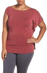 Addition Elle Love And Legend Plus Size Women's Asymmetrical Off The Shoulder Top Terracotta