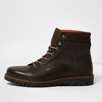 River Island Dark Green And Brown Mixed Texture Work Boots