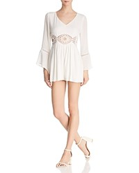 Molly Bracken Crochet Inset Romper Off White