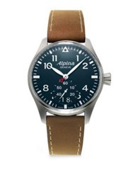 Alpina Sapphire Crystal Leather Strap Watch Tan Navy