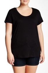 Susina Short Sleeve Scoop Neck Tee Plus Size Black