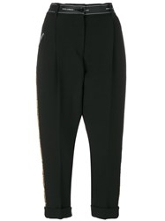 Dolce And Gabbana Sequinned Cropped Trousers Nylon Polyester Spandex Elastane Virgin Wool Black