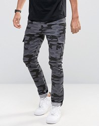 Asos Super Skinny Jeans With Cargo Details In Black Camo Black