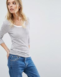 Selected Stripe Top Snow White