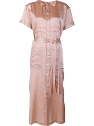 Julien David Belted Shirt Dress Pink Purple