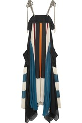 Chloe Asymmetric Block Color Plisse Georgette Gown Blue