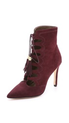 Cynthia Vincent Harp Suede Lace Up Booties Burgundy