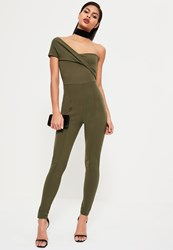 Missguided Khaki Asymmetric Bardot Jumpsuit