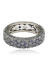 Suzy Levian Jewelry Sterling Silver Pave Blue Sapphire And Created White Sapphire Ring