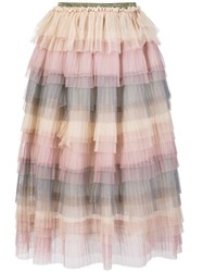 Caban Romantic High Waisted Tiered Skirt Nude And Neutrals