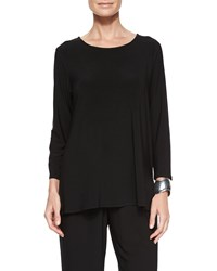 Caroline Rose 3 4 Sleeve Stretch Knit Top Women's Black