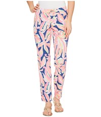 Lilly Pulitzer Kelly Skinny Ankle Pants Resort Navy Banana Flambe Women's Casual Pants Pink