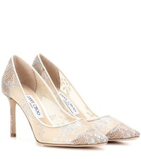 Jimmy Choo Romy 85 Lace Pumps White