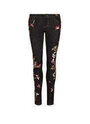 Alice Olivia 'Jane' Bird And Floral Embroidered Skinny Jeans Black