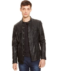 Kenneth Cole New York Leather Dirty Wash Shirt Jacket