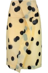 Marc By Marc Jacobs Misty Wrap Effect Polka Dot Pu Skirt Pastel Yellow