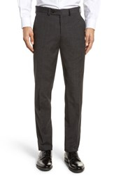 Ted Baker London Jerome Flat Front Solid Wool And Cotton Trousers Charcoal