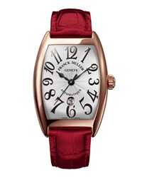 Ladies 18K Rose Gold Automatic Curvex Watch With Alligator Strap Franck Muller Pink