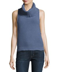 One Teaspoon Parisian Nights Turtleneck Sleeveless Top Medium Blue
