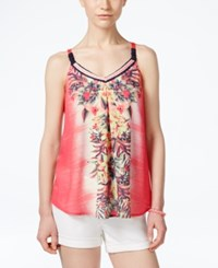 Jolt Juniors' Printed Pleated Tank Top Sherbert