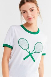 Truly Madly Deeply Tennis Ringer Tee Green