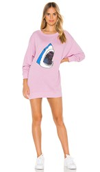Wildfox Couture Space Shark Roadtrip Sweater Dress In Purple. Crepe