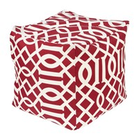 Surya Storm Cube Pouf Bright Red White