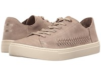 Toms Lenox Sneaker Desert Taupe Deconstructed Suede Woven Panel Women's Lace Up Casual Shoes Khaki