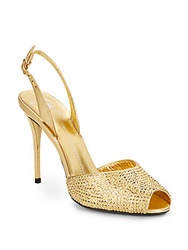 Giuseppe Zanotti Rhinestone Embellished Metallic Leather Slingback Peep Toe Pumps