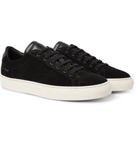 Common Projects Achilles Retro Leather Trimmed Suede Sneakers Black