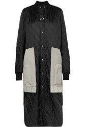 Rick Owens Suede And Wool Trimmed Quilted Shell Coat Black