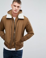 Selected Homme Flight Jacket With Removable Borg Collar Desert Palm Brown