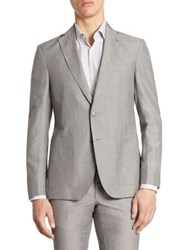 Saks Fifth Avenue Modern Wool And Linen Suit Jacket Grey