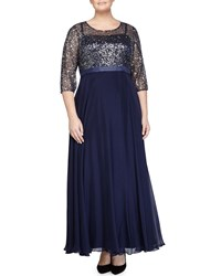 Kay Unger New York Women's Round Neck 3 4 Sleeve Combo Gown Navy Women's