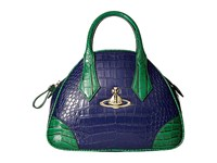 Vivienne Westwood Jungle Crocodile Small Bowler Blue Satchel Handbags